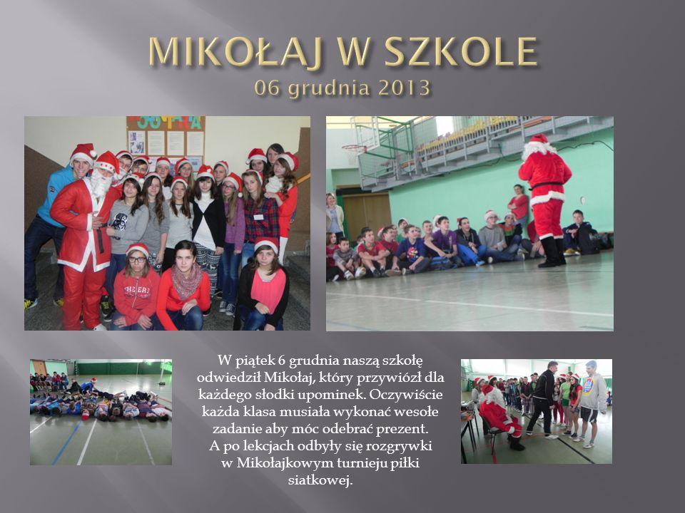 W piątek 6 grudnia naszą szkołę odwiedził Mikołaj, który przywiózł dla każdego słodki upominek. Oczywiście każda klasa musiała wykonać wesołe zadanie