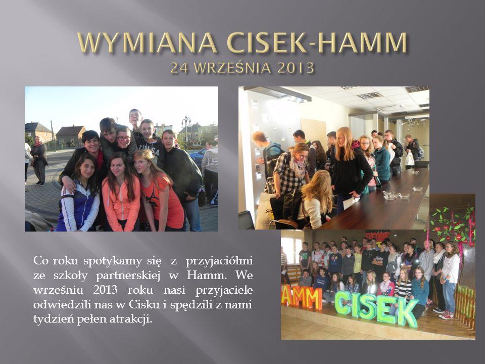 Co roku spotykamy się z przyjaciółmi ze szkoły partnerskiej w Hamm. We wrześniu 2013 roku nasi przyjaciele odwiedzili nas w Cisku i spędzili z nami ty