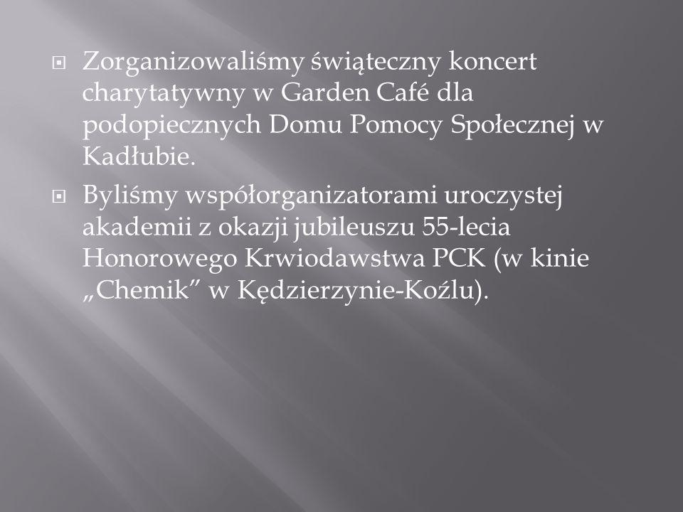 Zorganizowaliśmy świąteczny koncert charytatywny w Garden Café dla podopiecznych Domu Pomocy Społecznej w Kadłubie. Byliśmy współorganizatorami uroczy