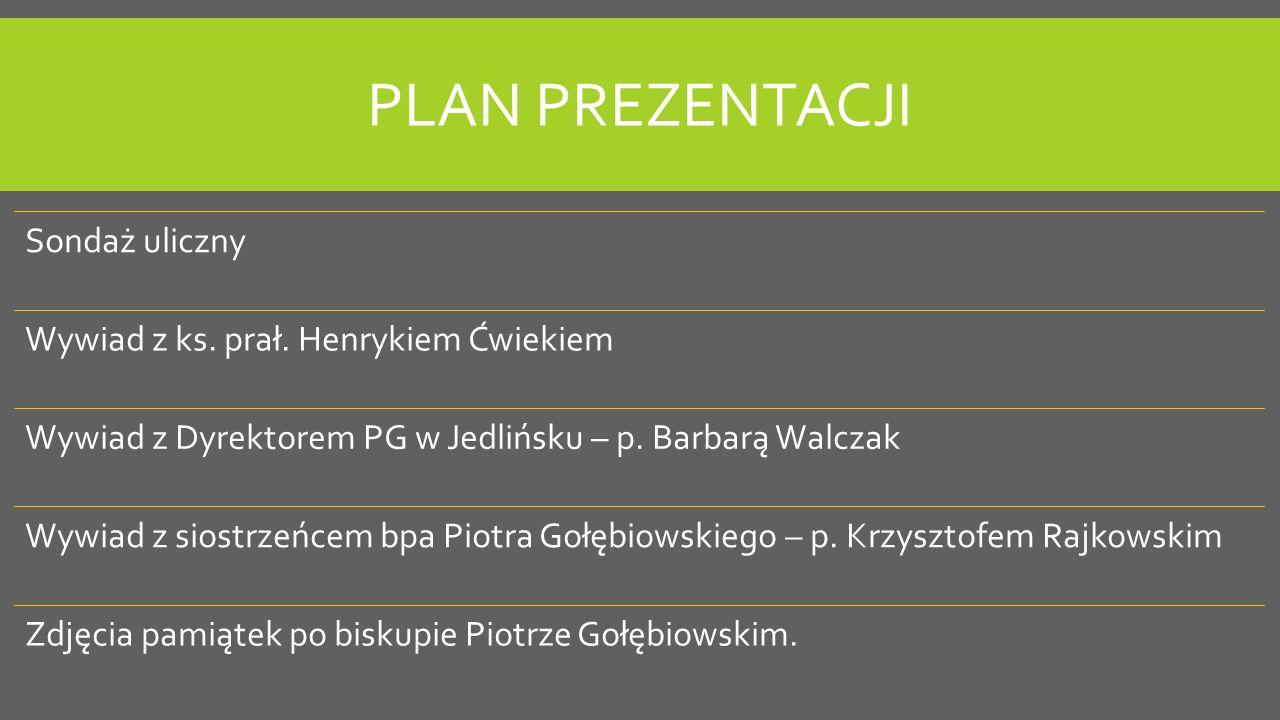 PLAN PREZENTACJI Sondaż uliczny Wywiad z ks.prał.