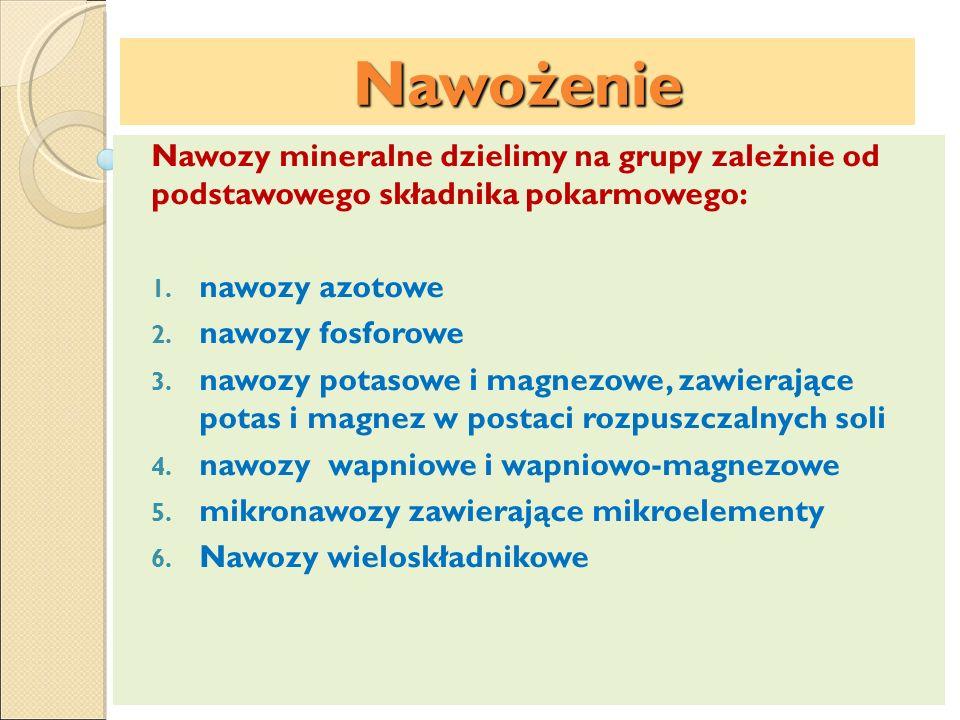 Nawożenie Nawozy mineralne dzielimy na grupy zależnie od podstawowego składnika pokarmowego: 1. nawozy azotowe 2. nawozy fosforowe 3. nawozy potasowe