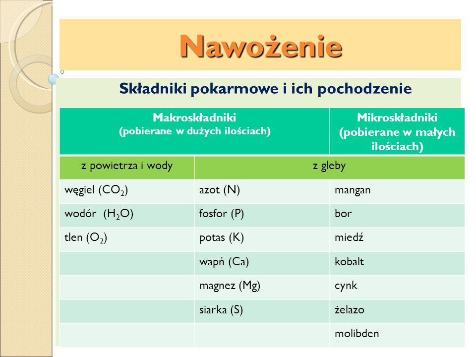 Nawożenie Nawozy fosforowe Rozróżniamy 2 grupy nawozów fosforowych: rozpuszczalne w wodzie: superfosfaty rozpuszczalne w mocnych kwasach: mączka fosforytowa mączka kostna