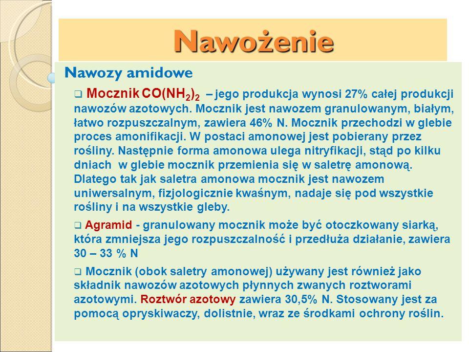 Nawożenie Nawozy amidowe Mocznik CO(NH 2 ) 2 – jego produkcja wynosi 27% całej produkcji nawozów azotowych. Mocznik jest nawozem granulowanym, białym,