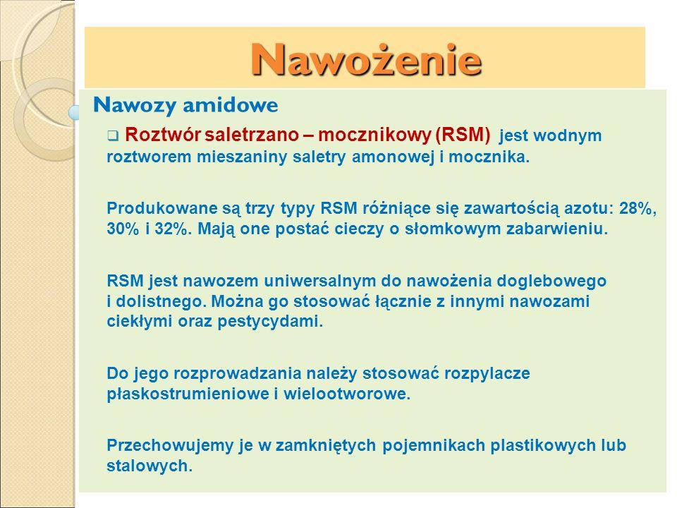 Nawożenie Nawozy amidowe Roztwór saletrzano – mocznikowy (RSM) jest wodnym roztworem mieszaniny saletry amonowej i mocznika. Produkowane są trzy typy