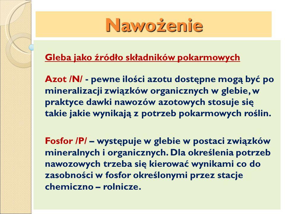 Nawożenie Potas /K/ – gleby polskie są na ogół ubogie w potas dostępny dla roślin.
