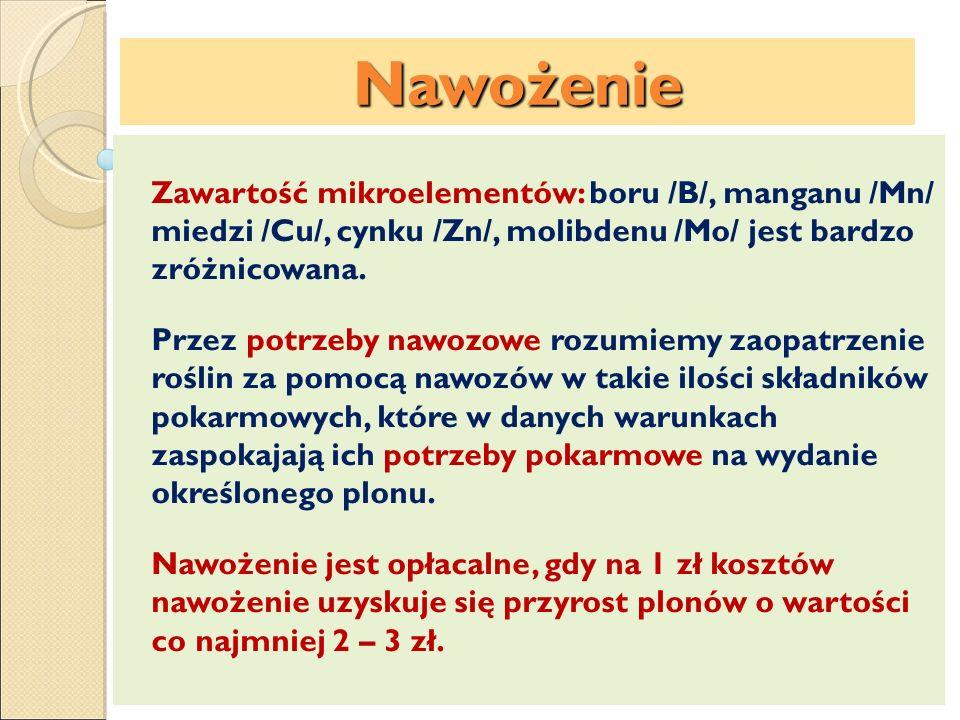 Nawożenie Zawartość mikroelementów: boru /B/, manganu /Mn/ miedzi /Cu/, cynku /Zn/, molibdenu /Mo/ jest bardzo zróżnicowana. Przez potrzeby nawozowe r