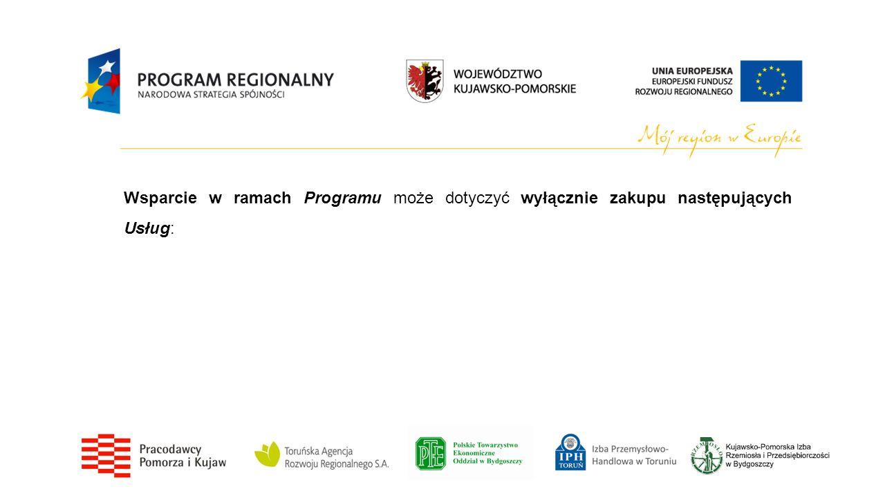 Wsparcie w ramach Programu może dotyczyć wyłącznie zakupu następujących Usług: