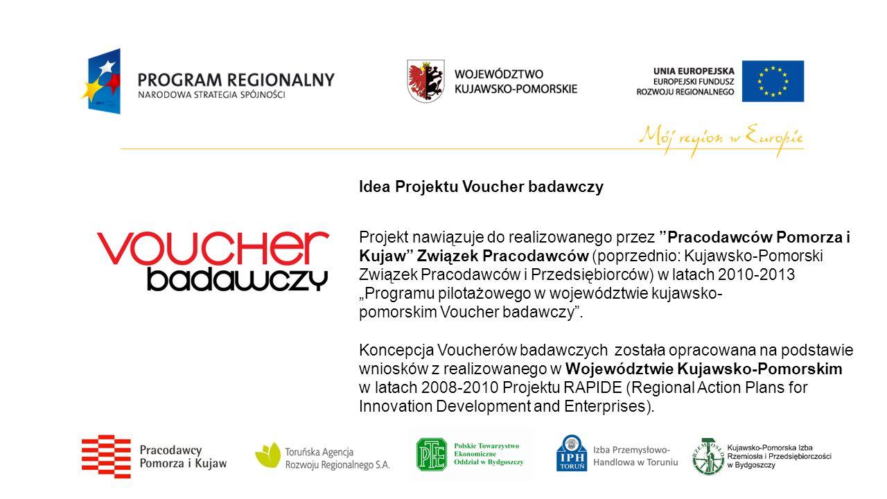 Idea Projektu Voucher badawczy Projekt nawiązuje do realizowanego przez Pracodawców Pomorza i Kujaw Związek Pracodawców (poprzednio: Kujawsko-Pomorski