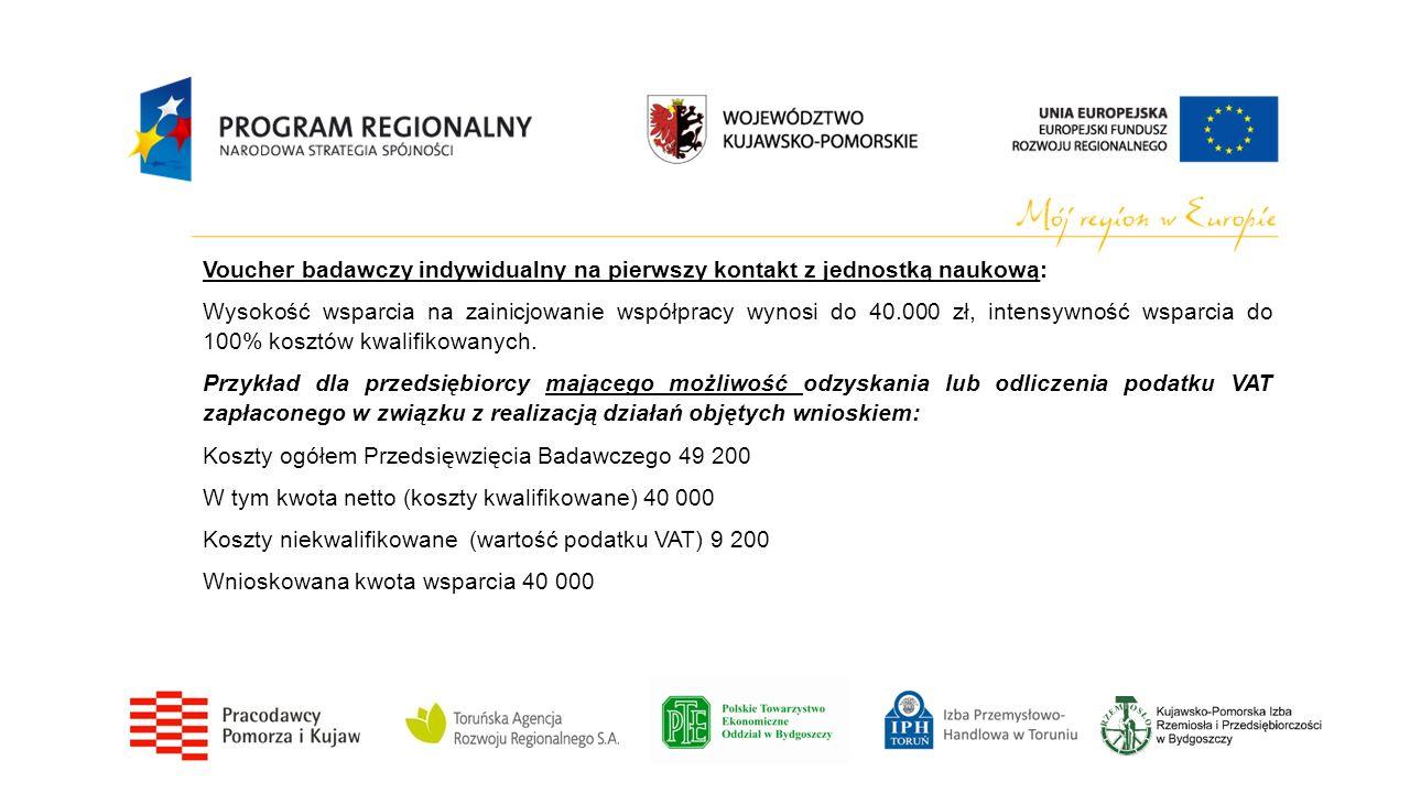 Voucher badawczy indywidualny na pierwszy kontakt z jednostką naukową: Wysokość wsparcia na zainicjowanie współpracy wynosi do 40.000 zł, intensywność
