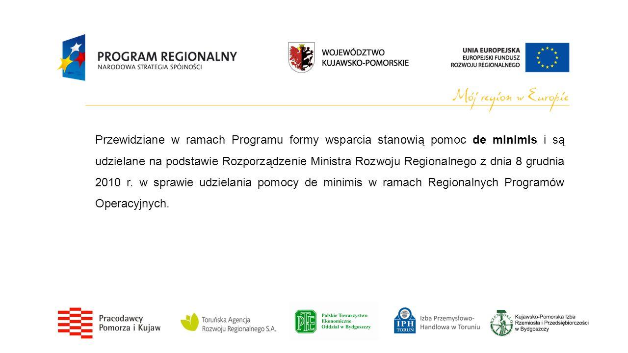 Przewidziane w ramach Programu formy wsparcia stanowią pomoc de minimis i są udzielane na podstawie Rozporządzenie Ministra Rozwoju Regionalnego z dni