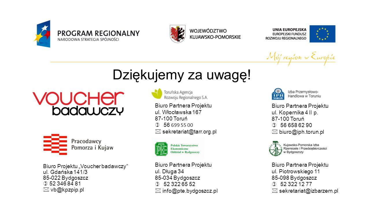 Biuro Projektu Voucher badawczy ul. Gdańska 141/3 85-022 Bydgoszcz 52 346 84 81 vb@kpzpip.pl Dziękujemy za uwagę! Biuro Partnera Projektu ul. Włocławs