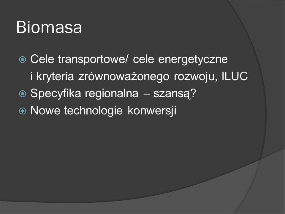 Biomasa Cele transportowe/ cele energetyczne i kryteria zrównoważonego rozwoju, ILUC Specyfika regionalna – szansą? Nowe technologie konwersji