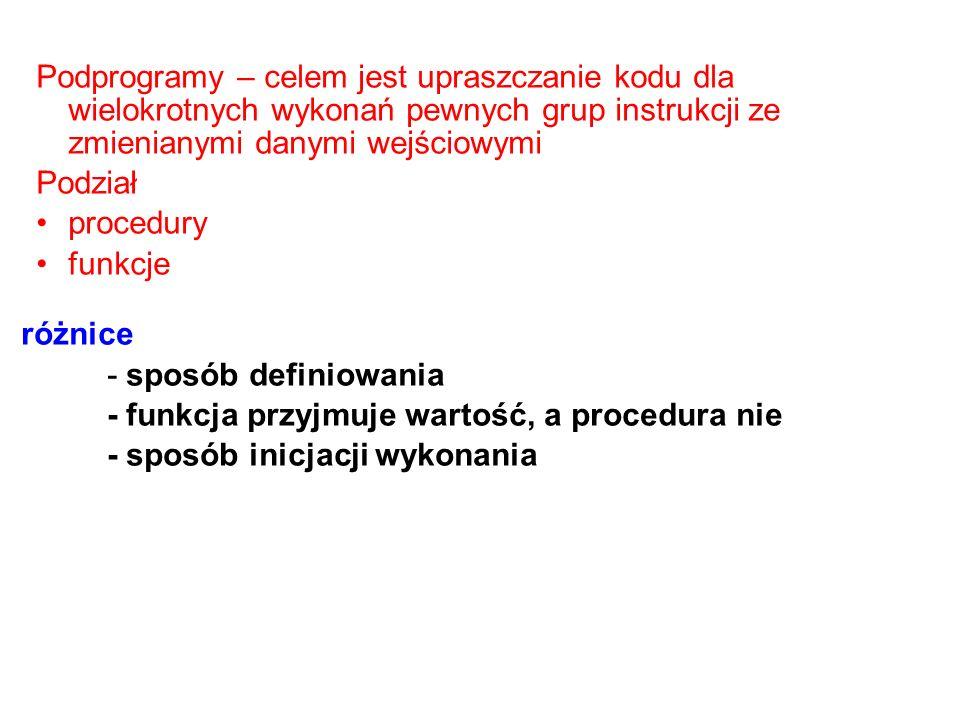 Nagłówki Procedura procedure nazwa_proc (deklaracje_parametrów_formalnych ); Funkcja function nazwa_fun ( deklaracje_param._formal.