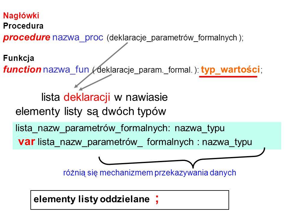 Przykłady deklaracji zmiennych plikowych: type osoba = record nazw: string[ 20 ]; imie: array[1..2] of string[ 15 ]; data_ur: data; pensja: real end; dwa_napisy = array[1..2] of string[15]; varoceny: file of real; nazwiska: file of string[20]; zaloga: file of osoba; adresy: file of dwa_napisy; wyniki: textFile; obraz: file;