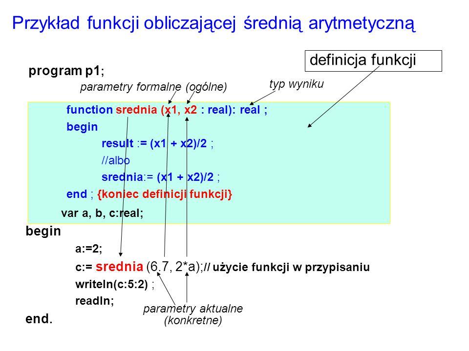 procedura : read( f, zmienna) procedura : write( f, zmienna ) zapis do pliku Odczyt z pliku Można korzystać z readln i writeln, ale tylko dla zmiennych plikowych typu Textfile f zmienna plikowa zmienna takiego samego typu jak element pliku