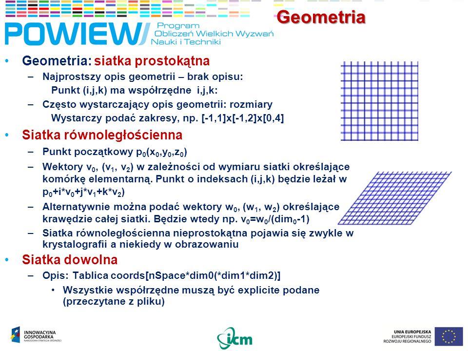 Geometria Geometria: siatka prostokątna –Najprostszy opis geometrii – brak opisu: Punkt (i,j,k) ma współrzędne i,j,k: –Często wystarczający opis geometrii: rozmiary Wystarczy podać zakresy, np.