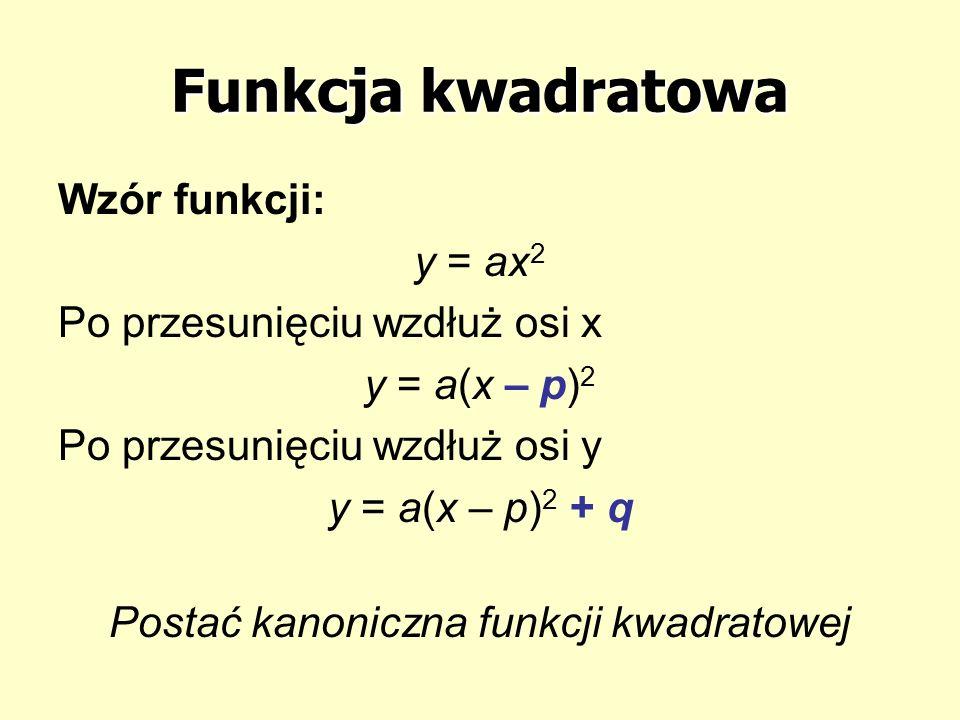 Funkcja kwadratowa Wzór funkcji: y = ax 2 Po przesunięciu wzdłuż osi x y = a(x – p) 2 Po przesunięciu wzdłuż osi y y = a(x – p) 2 + q Postać kanoniczn