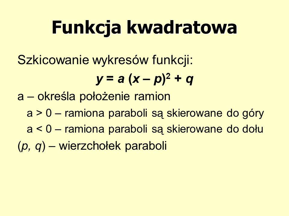 Funkcja kwadratowa Szkicowanie wykresów funkcji: y = a (x – p) 2 + q a – określa położenie ramion a > 0 – ramiona paraboli są skierowane do góry a < 0 – ramiona paraboli są skierowane do dołu (p, q) – wierzchołek paraboli