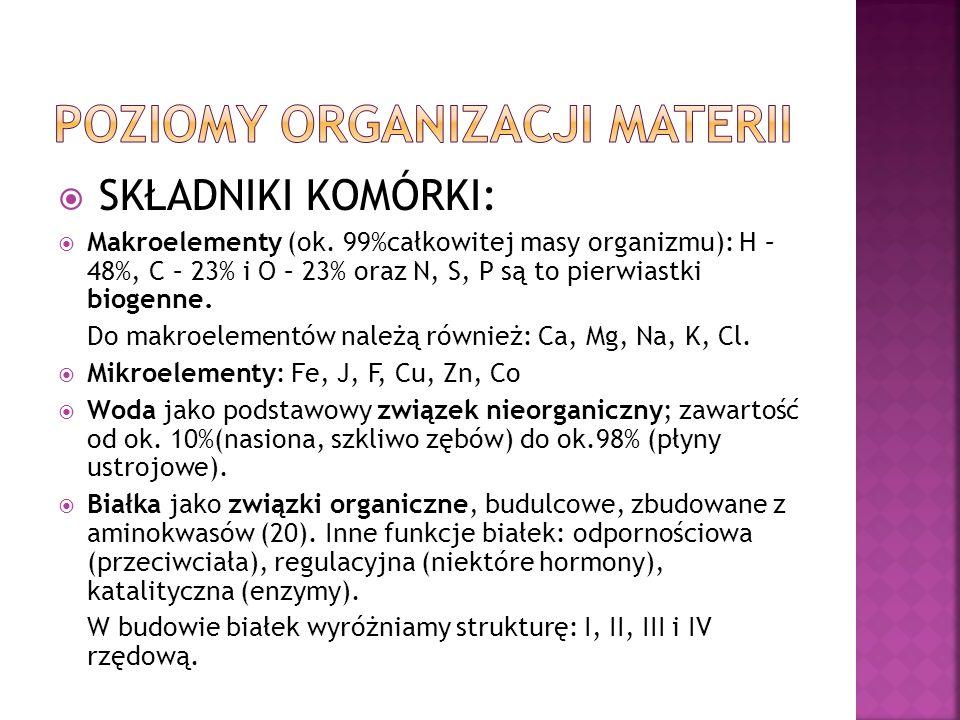 SKŁADNIKI KOMÓRKI: Makroelementy (ok. 99%całkowitej masy organizmu): H – 48%, C – 23% i O – 23% oraz N, S, P są to pierwiastki biogenne. Do makroeleme