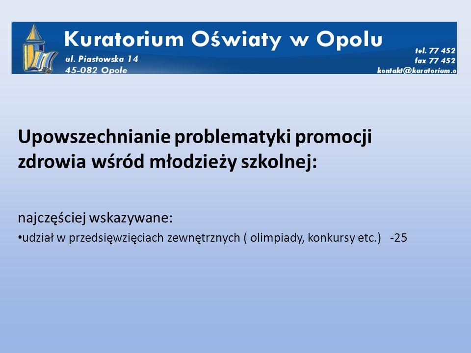 Upowszechnianie problematyki promocji zdrowia wśród młodzieży szkolnej: najczęściej wskazywane: udział w przedsięwzięciach zewnętrznych ( olimpiady, konkursy etc.) -25