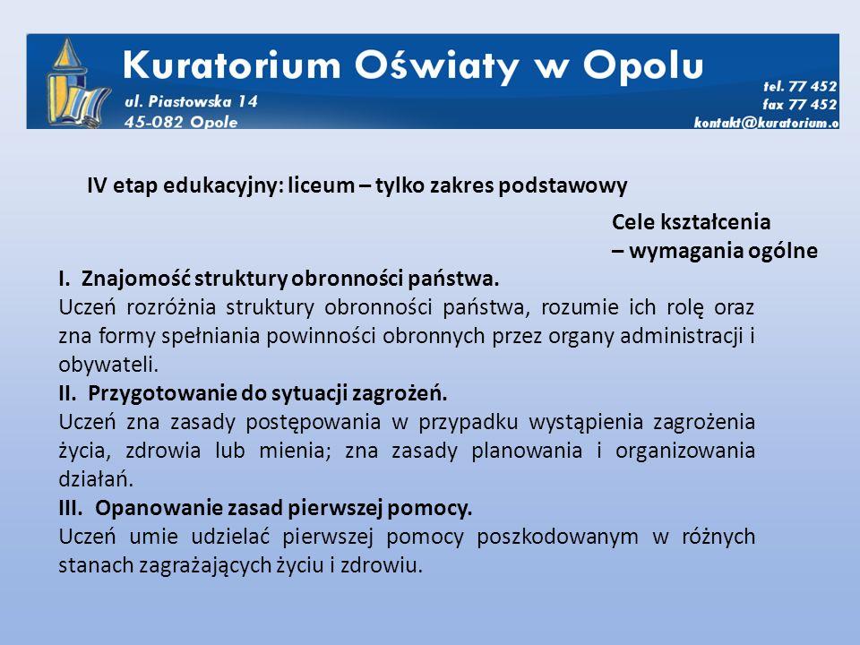 I. Znajomość struktury obronności państwa.