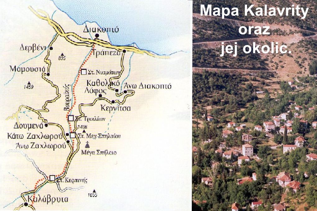 Mapa Kalavrity oraz jej okolic.