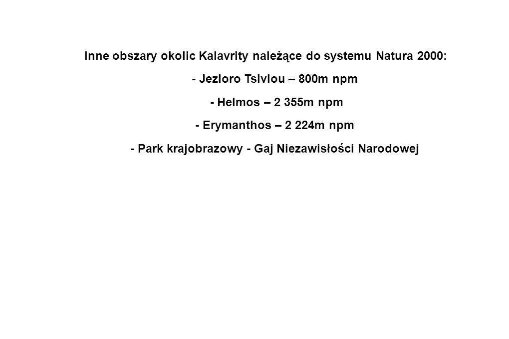 Inne obszary okolic Kalavrity należące do systemu Natura 2000: - Jezioro Tsivlou – 800m npm - Helmos – 2 355m npm - Erymanthos – 2 224m npm - Park kra