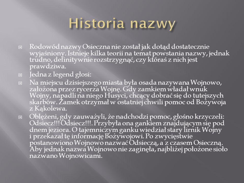 Rodowód nazwy Osieczna nie został jak dotąd dostatecznie wyjaśniony. Istnieje kilka teorii na temat powstania nazwy, jednak trudno, definitywnie rozst