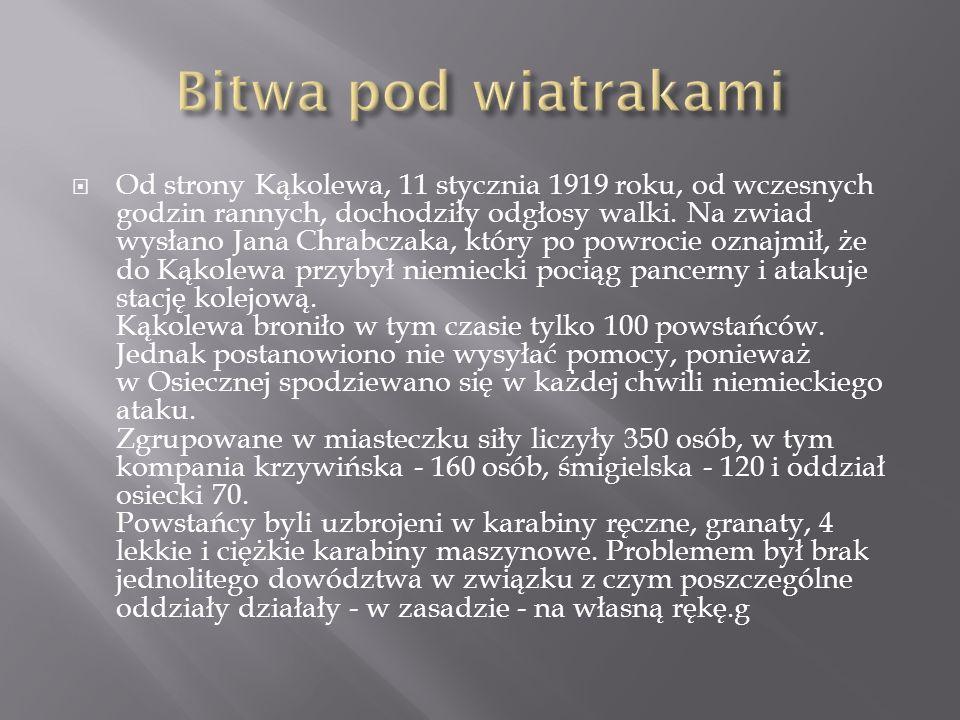 Od strony Kąkolewa, 11 stycznia 1919 roku, od wczesnych godzin rannych, dochodziły odgłosy walki. Na zwiad wysłano Jana Chrabczaka, który po powrocie