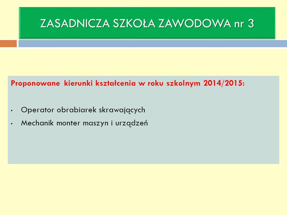 Proponowane kierunki kształcenia w roku szkolnym 2014/2015: Operator obrabiarek skrawających Mechanik monter maszyn i urządzeń