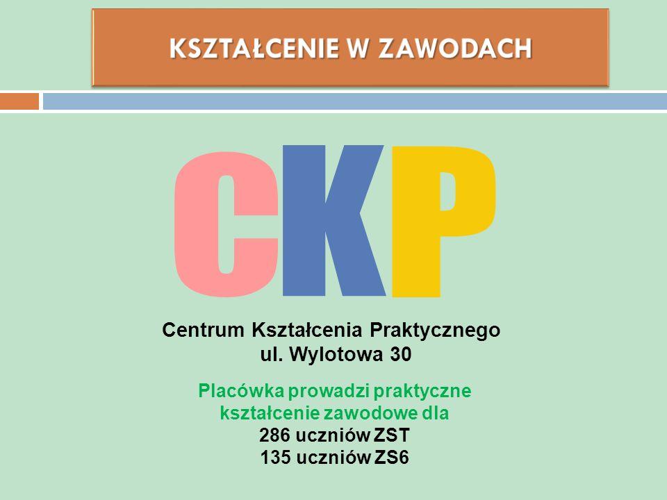 Centrum Kształcenia Praktycznego ul. Wylotowa 30 Placówka prowadzi praktyczne kształcenie zawodowe dla 286 uczniów ZST 135 uczniów ZS6
