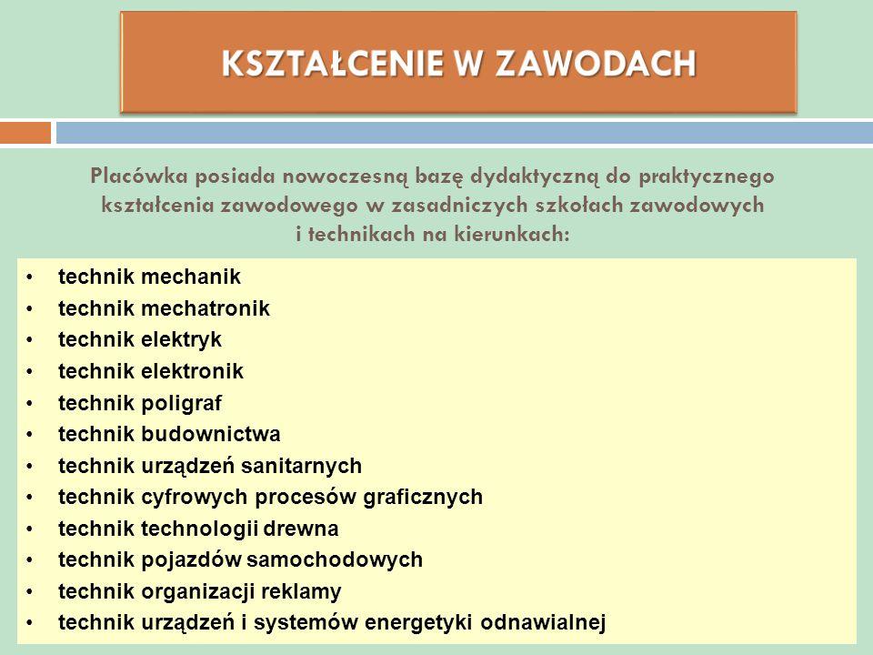 Placówka posiada nowoczesną bazę dydaktyczną do praktycznego kształcenia zawodowego w zasadniczych szkołach zawodowych i technikach na kierunkach: tec