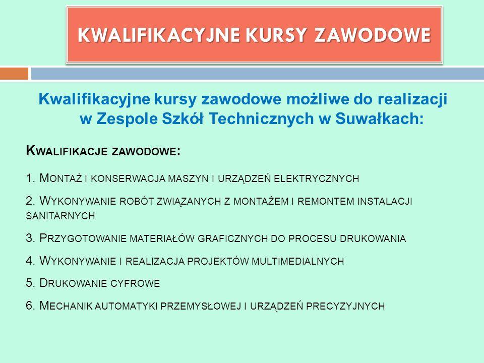 Kwalifikacyjne kursy zawodowe możliwe do realizacji w Zespole Szkół Technicznych w Suwałkach: KWALIFIKACYJNE KURSY ZAWODOWE K WALIFIKACJE ZAWODOWE : 1.