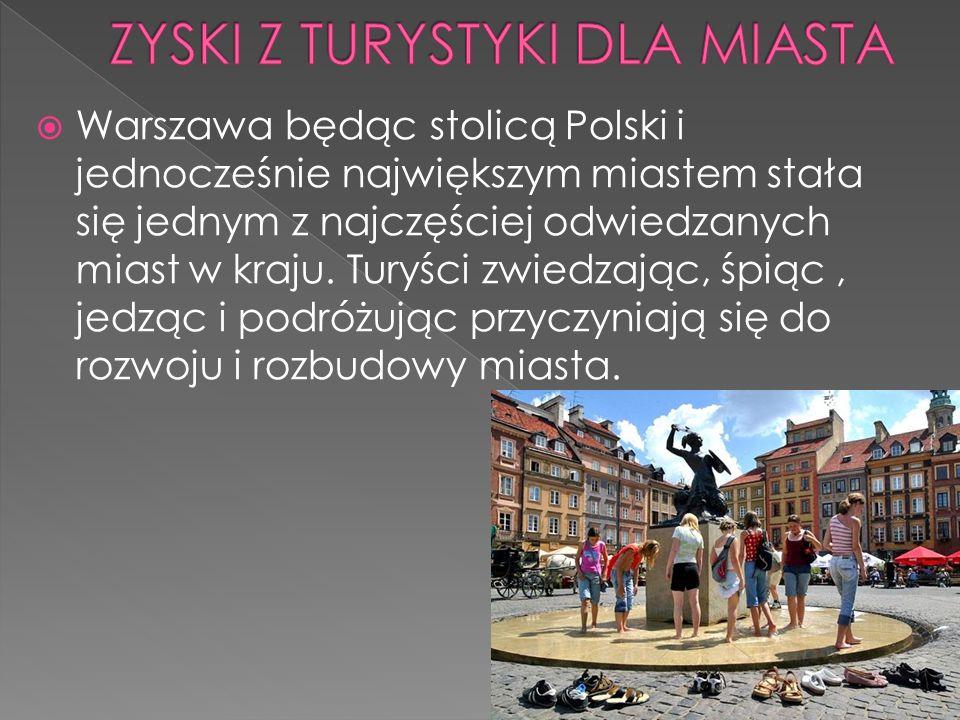 Warszawa będąc stolicą Polski i jednocześnie największym miastem stała się jednym z najczęściej odwiedzanych miast w kraju. Turyści zwiedzając, śpiąc,