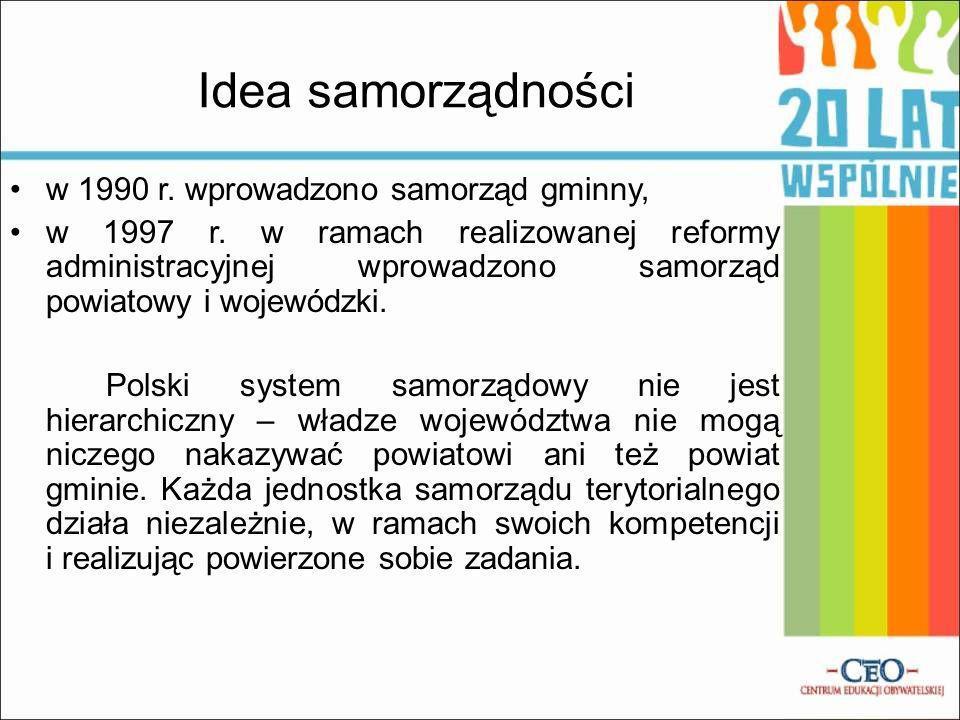 Idea samorządności w 1990 r. wprowadzono samorząd gminny, w 1997 r. w ramach realizowanej reformy administracyjnej wprowadzono samorząd powiatowy i wo