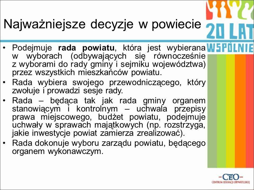 Najważniejsze decyzje w powiecie Podejmuje rada powiatu, która jest wybierana w wyborach (odbywających się równocześnie z wyborami do rady gminy i sejmiku województwa) przez wszystkich mieszkańców powiatu.