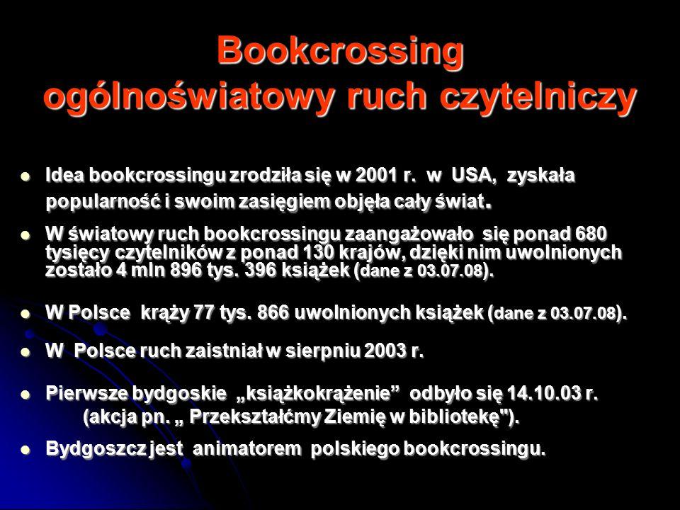 Bookcrossing ogólnoświatowy ruch czytelniczy Idea bookcrossingu zrodziła się w 2001 r. w USA, zyskała popularność i swoim zasięgiem objęła cały świat.