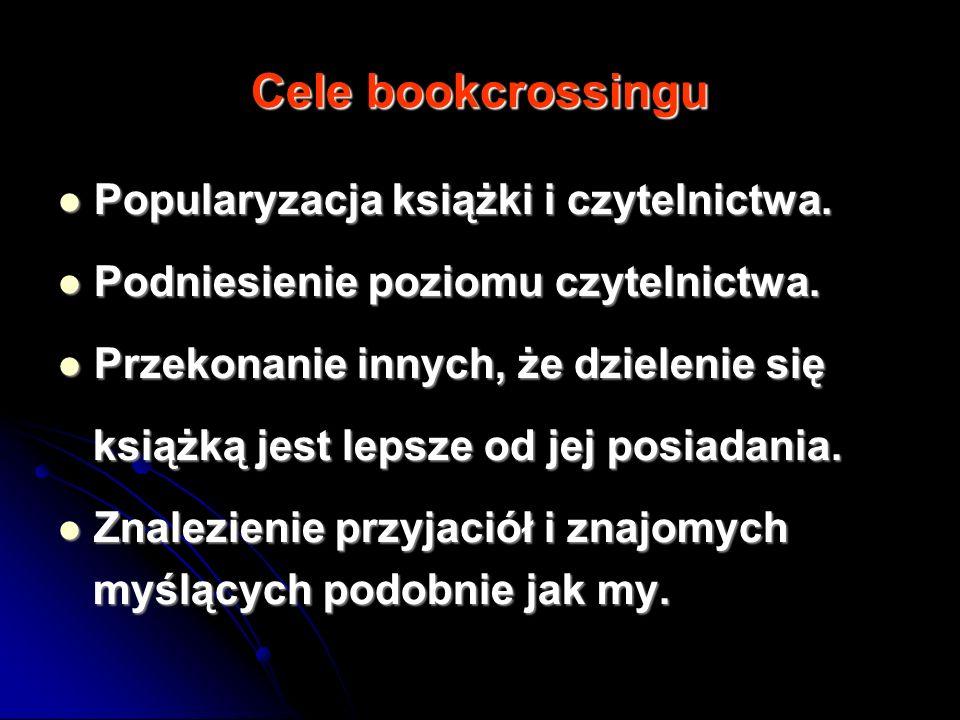 Cele bookcrossingu Popularyzacja książki i czytelnictwa. Popularyzacja książki i czytelnictwa. Podniesienie poziomu czytelnictwa. Podniesienie poziomu