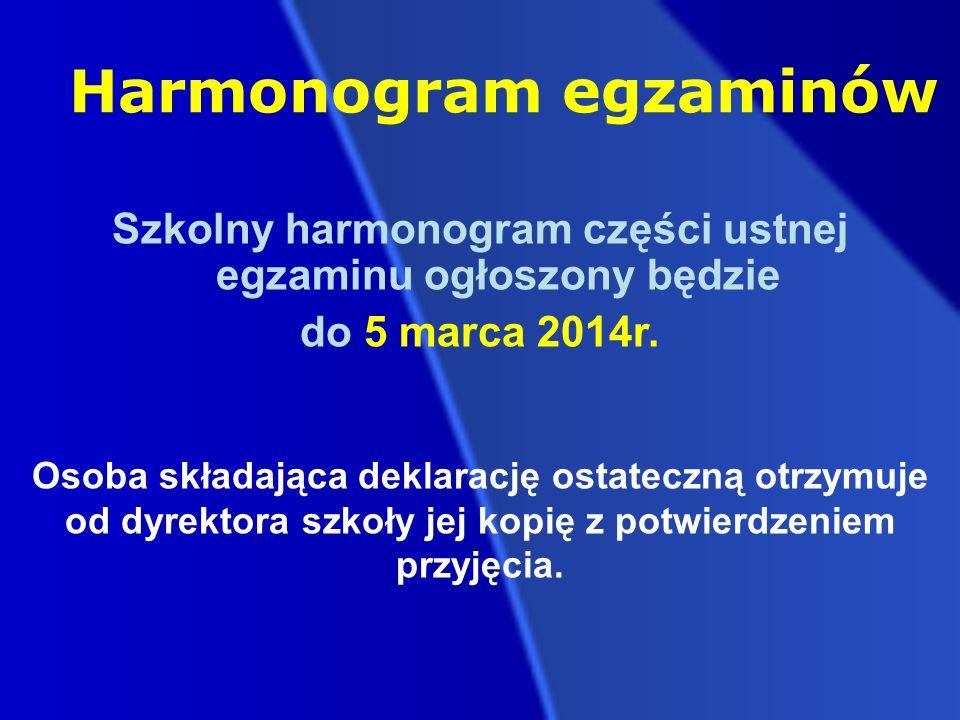 Harmonogram egzaminów Szkolny harmonogram części ustnej egzaminu ogłoszony będzie do 5 marca 2014r.