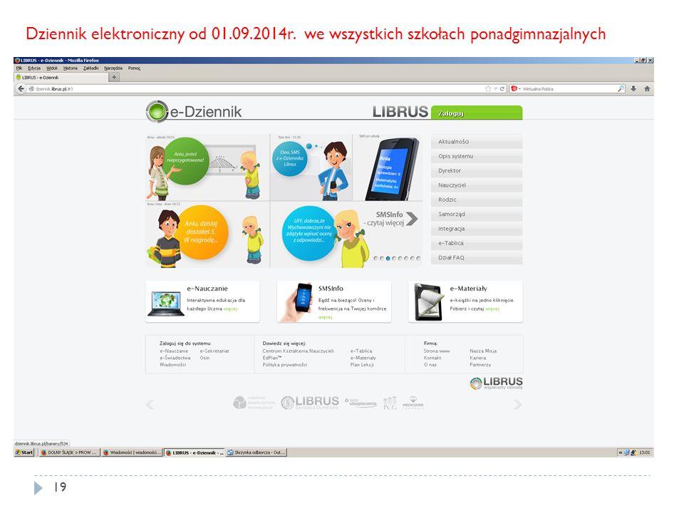 19 Dziennik elektroniczny od 01.09.2014r. we wszystkich szkołach ponadgimnazjalnych