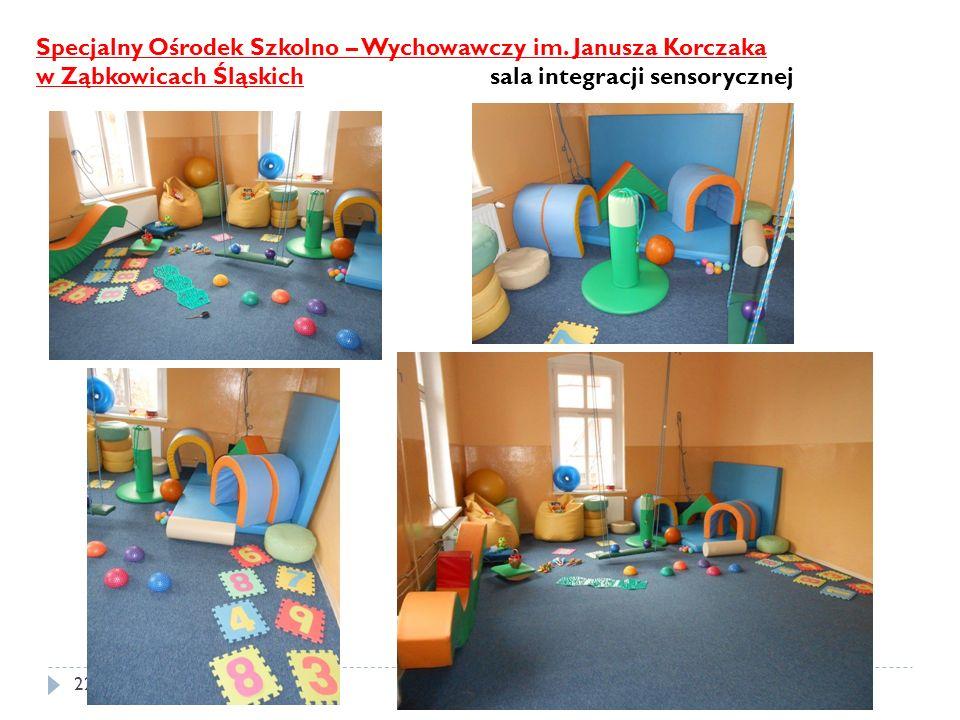 22 Specjalny Ośrodek Szkolno – Wychowawczy im. Janusza Korczaka w Ząbkowicach Śląskich sala integracji sensorycznej