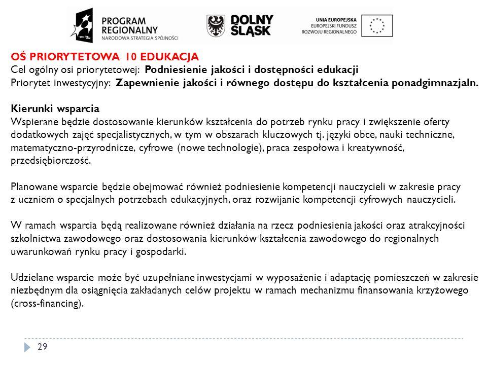 29 OŚ PRIORYTETOWA 10 EDUKACJA Cel ogólny osi priorytetowej: Podniesienie jakości i dostępności edukacji Priorytet inwestycyjny: Zapewnienie jakości i