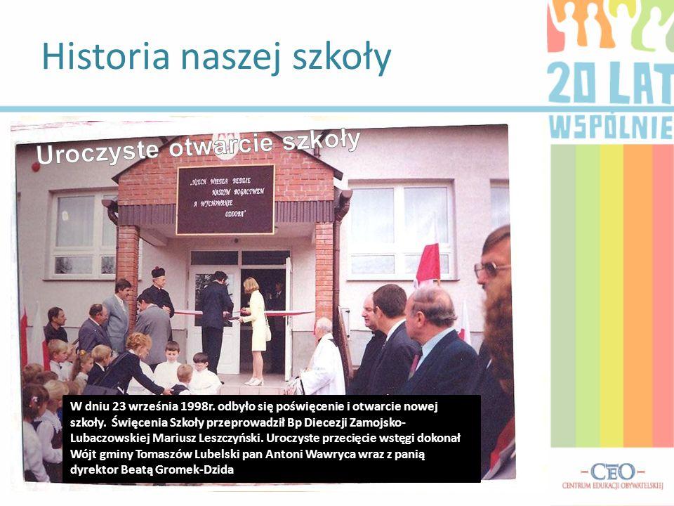 Powstanie Gimnazjum Wywiad z aktualną Panią Dyrektor Ewą Magdziak Spotkanie uczniów klas gimnazjalnych z wójtem Gminy Tomaszów Lub.