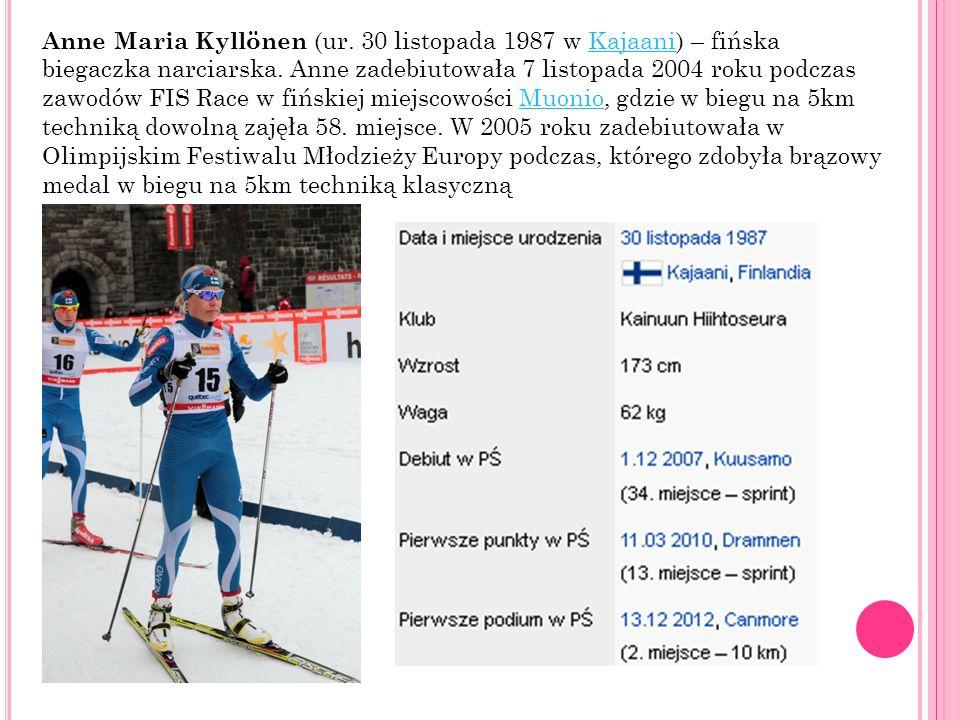 Anne Maria Kyllönen (ur. 30 listopada 1987 w Kajaani) – fińska biegaczka narciarska. Anne zadebiutowała 7 listopada 2004 roku podczas zawodów FIS Race