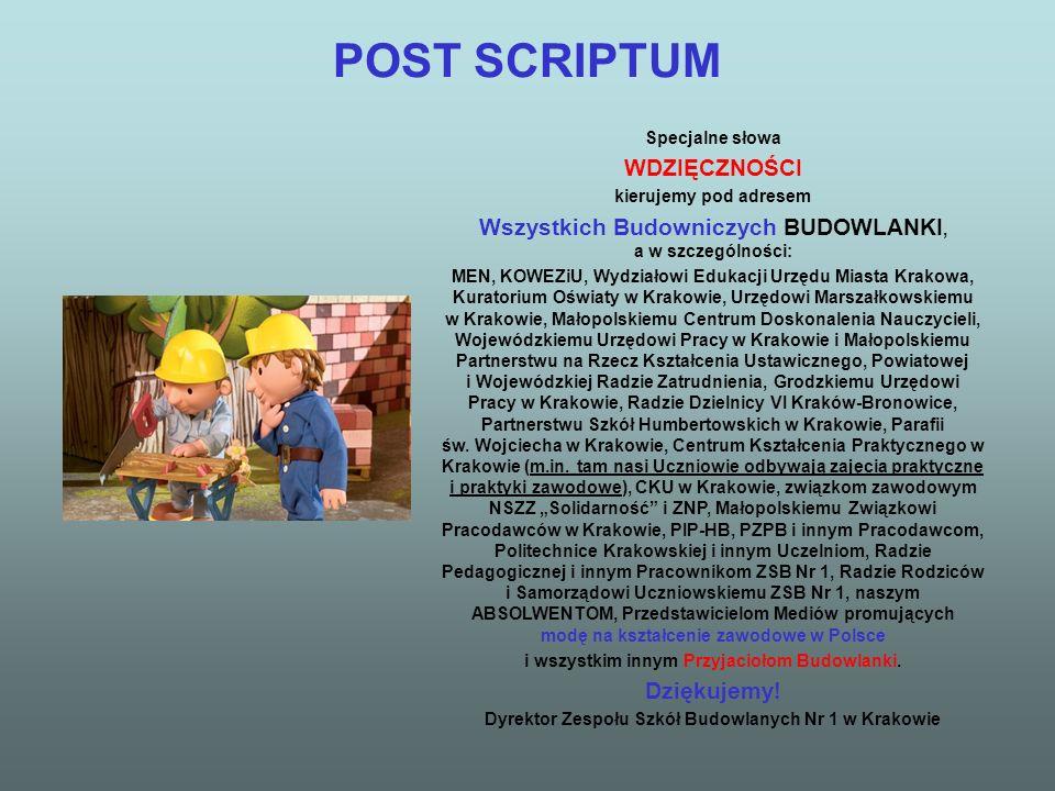 POST SCRIPTUM Specjalne słowa WDZIĘCZNOŚCI kierujemy pod adresem Wszystkich Budowniczych BUDOWLANKI, a w szczególności: MEN, KOWEZiU, Wydziałowi Eduka