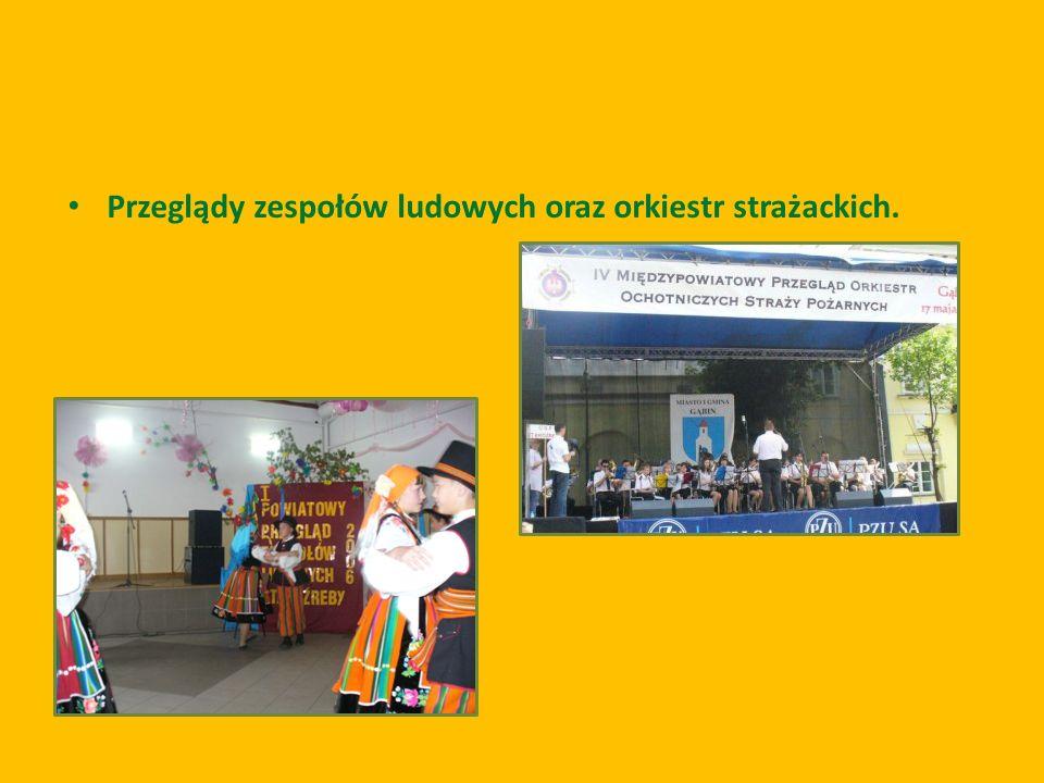 Przeglądy zespołów ludowych oraz orkiestr strażackich.