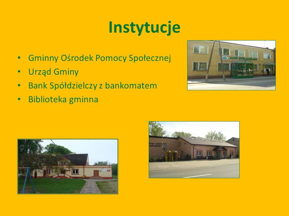 Instytucje Gminny Ośrodek Pomocy Społecznej Urząd Gminy Bank Spółdzielczy z bankomatem Biblioteka gminna