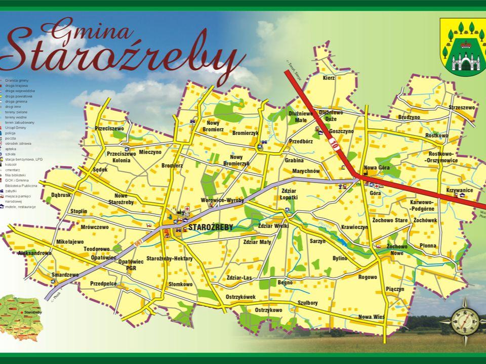 Położona jest na terenie krainy Mazowiecko – Podlaskiej, sąsiaduje z gminami powiatu płockiego: Bielsk, Radzanowo, Bulkowo i Drobin oraz powiatu płońskiego: Baboszewo, Dzierzążnia i Raciąż.