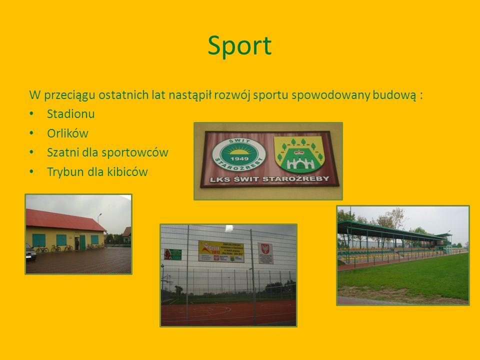 Sport W przeciągu ostatnich lat nastąpił rozwój sportu spowodowany budową : Stadionu Orlików Szatni dla sportowców Trybun dla kibiców