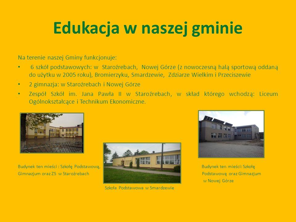 Edukacja w naszej gminie Na terenie naszej Gminy funkcjonuje: 6 szkół podstawowych: w Staroźrebach, Nowej Górze (z nowoczesną halą sportową oddaną do